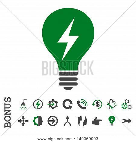Electric Bulb glyph bicolor icon. Image style is a flat iconic symbol, green and gray colors, white background.