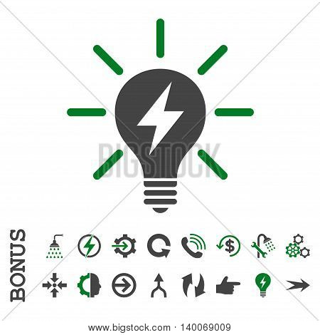 Electric Light Bulb glyph bicolor icon. Image style is a flat pictogram symbol, green and gray colors, white background.
