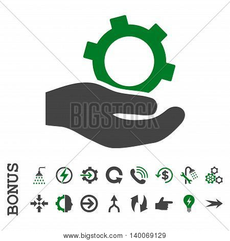 Engineering Service glyph bicolor icon. Image style is a flat iconic symbol, green and gray colors, white background.