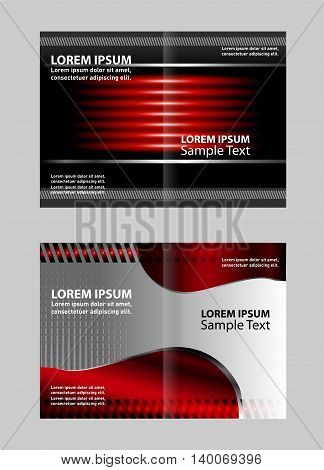 Vector empty bi-fold brochure template design with red and black elements
