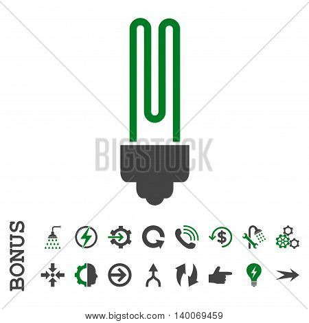 Fluorescent Bulb glyph bicolor icon. Image style is a flat pictogram symbol, green and gray colors, white background.