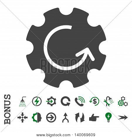 Gear Rotation glyph bicolor icon. Image style is a flat iconic symbol, green and gray colors, white background.