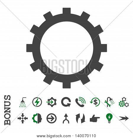 Gear glyph bicolor icon. Image style is a flat iconic symbol, green and gray colors, white background.