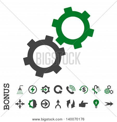 Gears glyph bicolor icon. Image style is a flat iconic symbol, green and gray colors, white background.