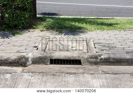 Cover the drain of cement, water, hole, pattern