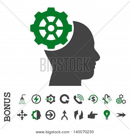 Head Gear glyph bicolor icon. Image style is a flat iconic symbol, green and gray colors, white background.