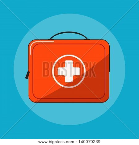 First aid kit vector icon islated on blue background