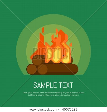 Isolated bonfire vector icon in flat design style