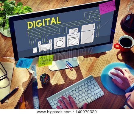 Digital Electronic Merketing Innovation Wireless Concept