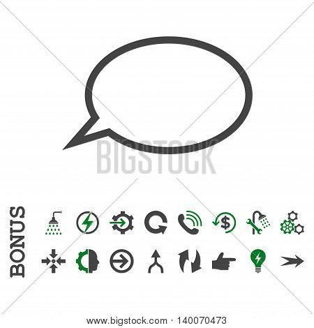 Hint Cloud glyph bicolor icon. Image style is a flat iconic symbol, green and gray colors, white background.