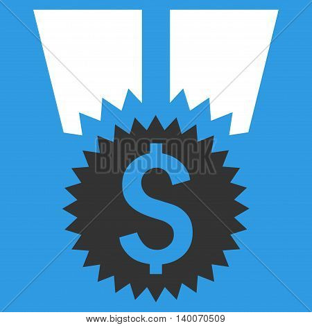 Financial Medal vector icon. Style is flat symbol, white color, blue background.