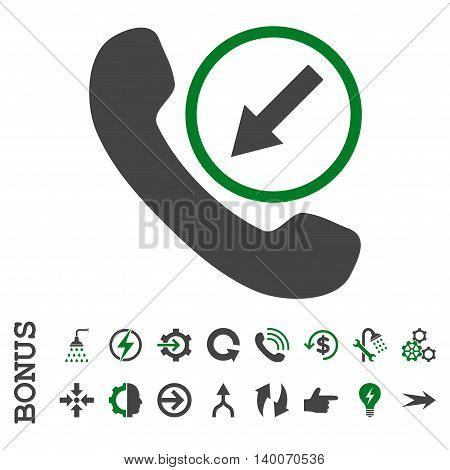 Incoming Call glyph bicolor icon. Image style is a flat iconic symbol, green and gray colors, white background.