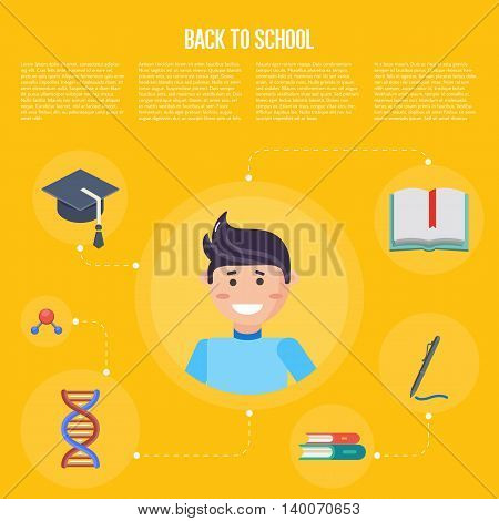 Back to school infographics concept icons flat design vector illustration. Concept icons of education and learning. Knowledge sign.