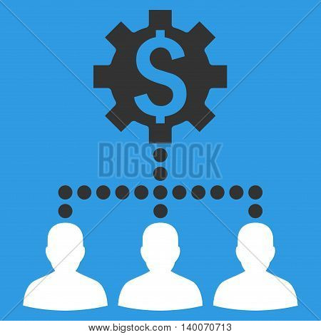Industrial Bank Clients vector icon. Style is flat symbol, white color, blue background.