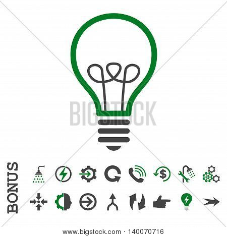 Lamp Bulb glyph bicolor icon. Image style is a flat iconic symbol, green and gray colors, white background.