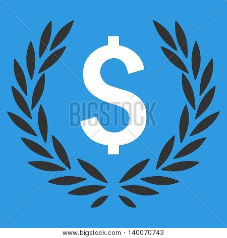 Laurel Bank Emblem vector icon. Style is flat symbol, white color, blue background.