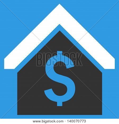 Loan Mortgage vector icon. Style is flat symbol, white color, blue background.