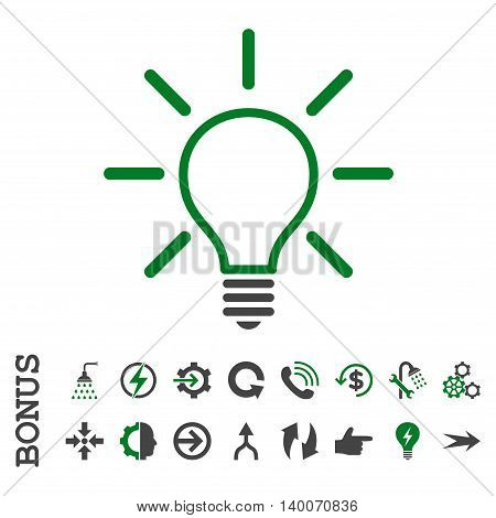 Light Bulb glyph bicolor icon. Image style is a flat iconic symbol, green and gray colors, white background.