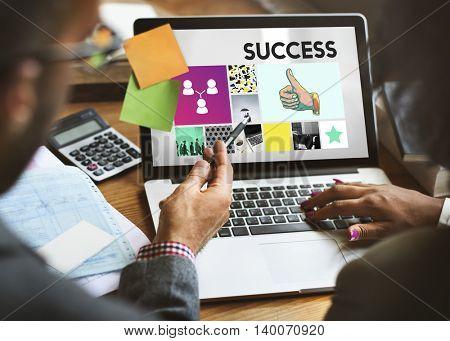 Marketing Achievement Branding Corporate Thumbs Up Concept
