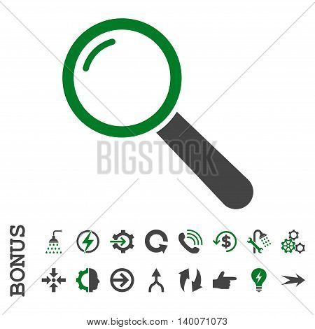 Magnifier glyph bicolor icon. Image style is a flat pictogram symbol, green and gray colors, white background.