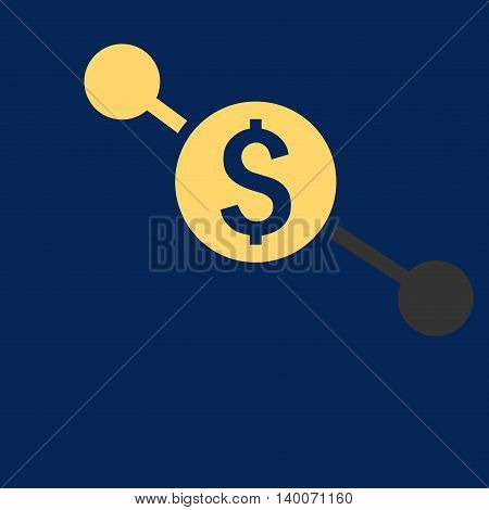 Bank Branches vector icon. Style is flat symbol, yellow color, blue background.