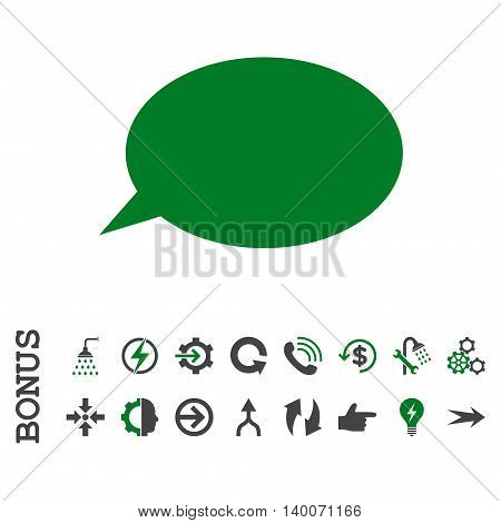 Message Cloud glyph bicolor icon. Image style is a flat pictogram symbol, green and gray colors, white background.