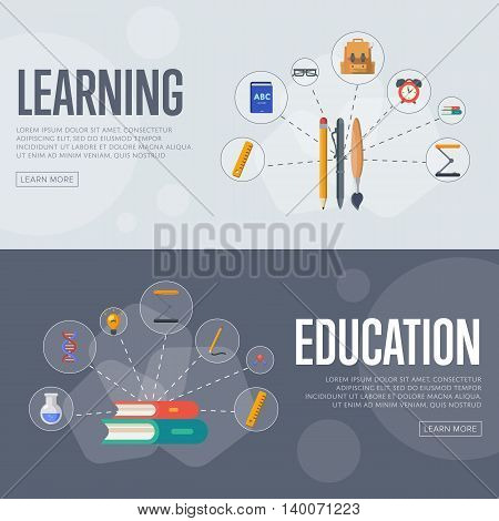 Banners of education and learning infographics concept icons background flat design vector illustration