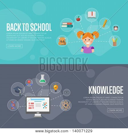 Back to school banner concept flat design vector illustration. Concept of education and learning. Knowledge sign.