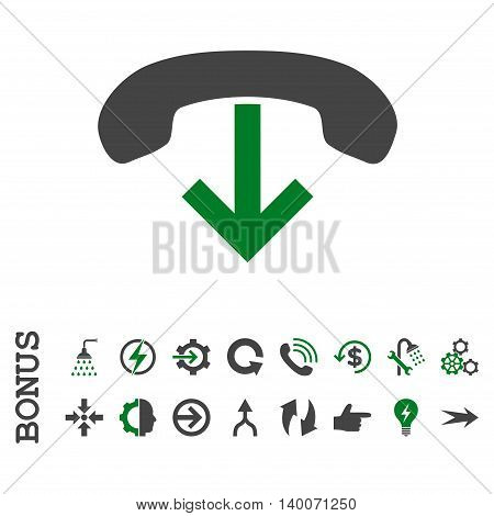 Phone Hang Up glyph bicolor icon. Image style is a flat pictogram symbol, green and gray colors, white background.