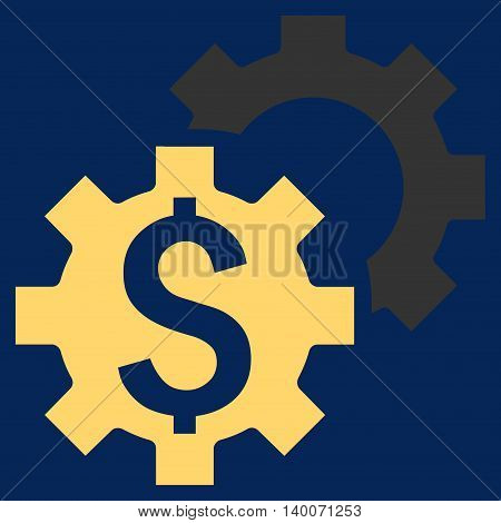 Bank Settings vector icon. Style is flat symbol, yellow color, blue background.