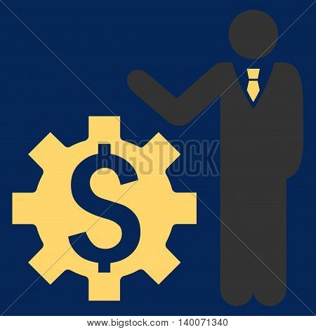 Businessman Options vector icon. Style is flat symbol, yellow color, blue background.