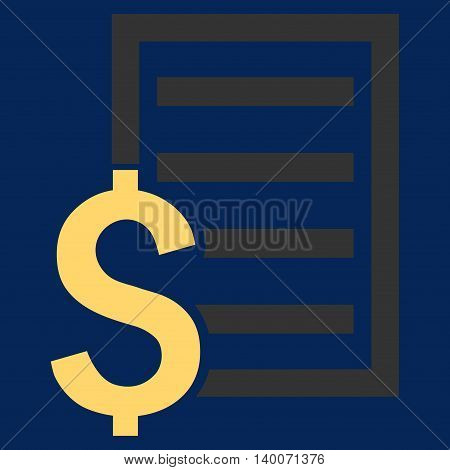 Contract vector icon. Style is flat symbol, yellow color, blue background.