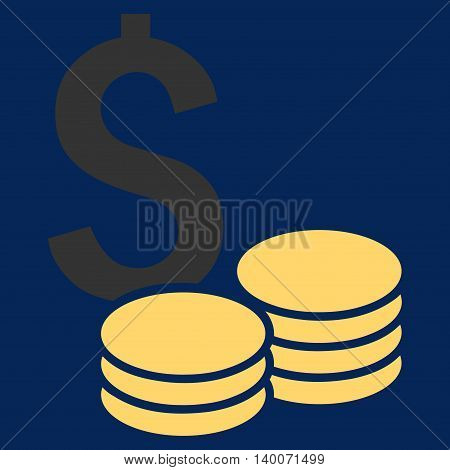 Dollar Cash vector icon. Style is flat symbol, yellow color, blue background.