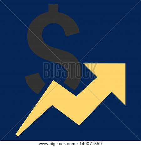 Dollar Growth vector icon. Style is flat symbol, yellow color, blue background.