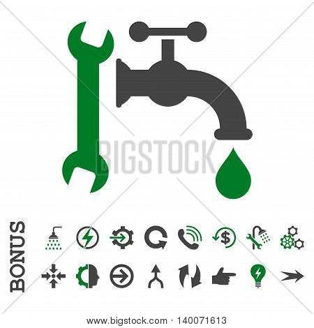 Plumbing glyph bicolor icon. Image style is a flat pictogram symbol, green and gray colors, white background.