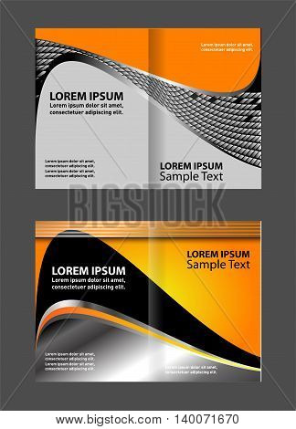 Vector empty bi-fold brochure template design with orange and gray elements