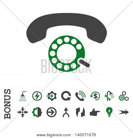 Pulse Dialing glyph bicolor icon. Image style is a flat pictogram symbol, green and gray colors, white background.