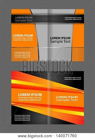 Vector empty bi-fold brochure print template design, bifold bright orange & yellow booklet or flyer
