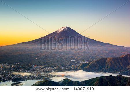 Mt. Fuji, Japan over Kawaguchi Lake.