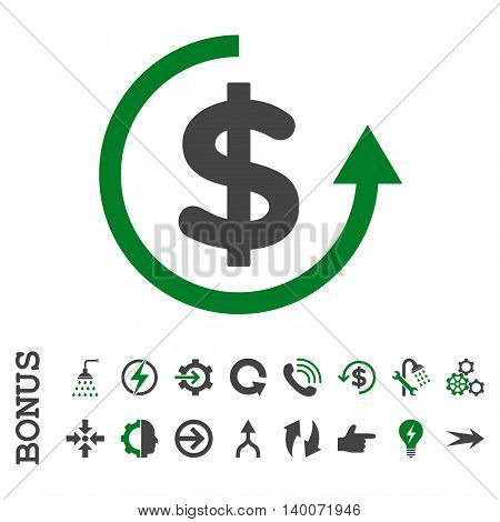Refund glyph bicolor icon. Image style is a flat pictogram symbol, green and gray colors, white background.