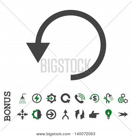 Rotate Ccw glyph bicolor icon. Image style is a flat pictogram symbol, green and gray colors, white background.