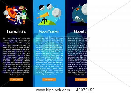 Space and Universe Vertical Banner Concept | Set of great vertical banner flat design illustration concepts for space, universe, galaxy, astrology and much more.