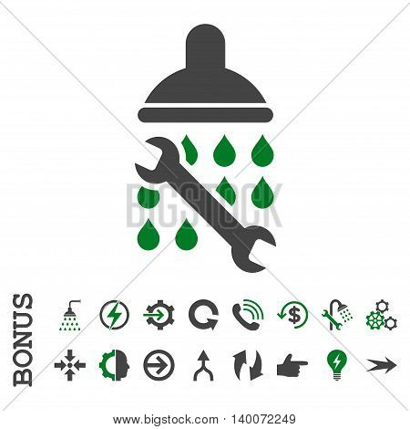 Shower Plumbing glyph bicolor icon. Image style is a flat pictogram symbol, green and gray colors, white background.