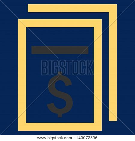 Price Copy vector icon. Style is flat symbol, yellow color, blue background.