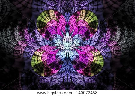 Abstract glowing flower on black background. Symmetrical pattern in blue pink green purple colors. Fantasy fractal design for posters postcards wallpapers or t-shirts. Digital art. 3D rendering.