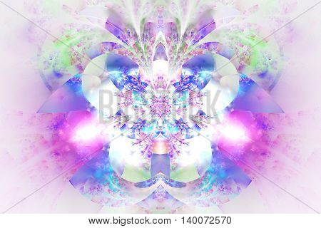 Abstract glowing flower on white background. Symmetrical pattern in blue pink and purple colors. Fantasy fractal design for posters postcards wallpapers or t-shirts. Digital art. 3D rendering.