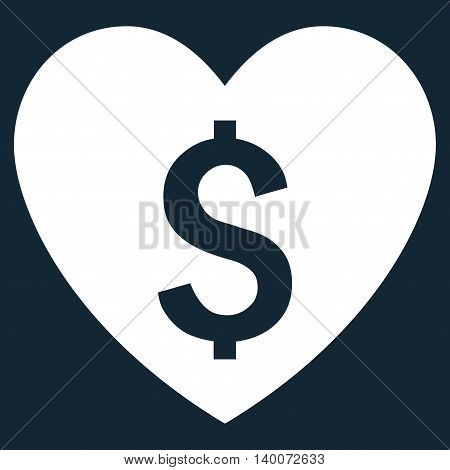 Paid Love vector icon. Style is flat symbol, white color, dark blue background.
