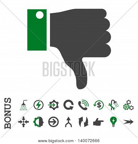 Thumb Down glyph bicolor icon. Image style is a flat iconic symbol, green and gray colors, white background.