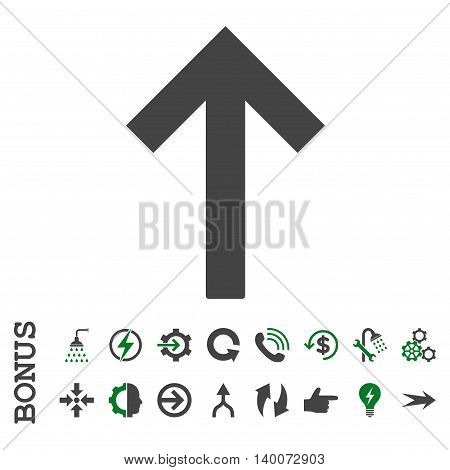 Up Arrow glyph bicolor icon. Image style is a flat iconic symbol, green and gray colors, white background.