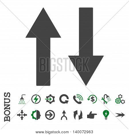 Vertical Flip Arrows glyph bicolor icon. Image style is a flat pictogram symbol, green and gray colors, white background.